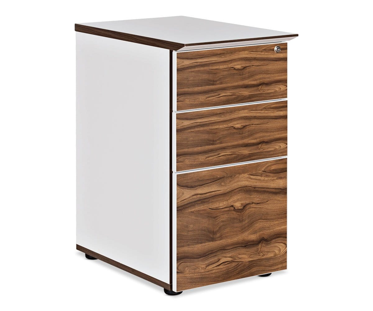 Sparsa Desk Height Pedestal White/Walnut - Scandinavian Designs