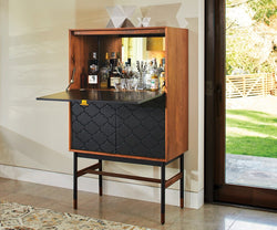 Kallan Bar Cabinet - Walnut/Black Walnut/Black - Scandinavian Designs