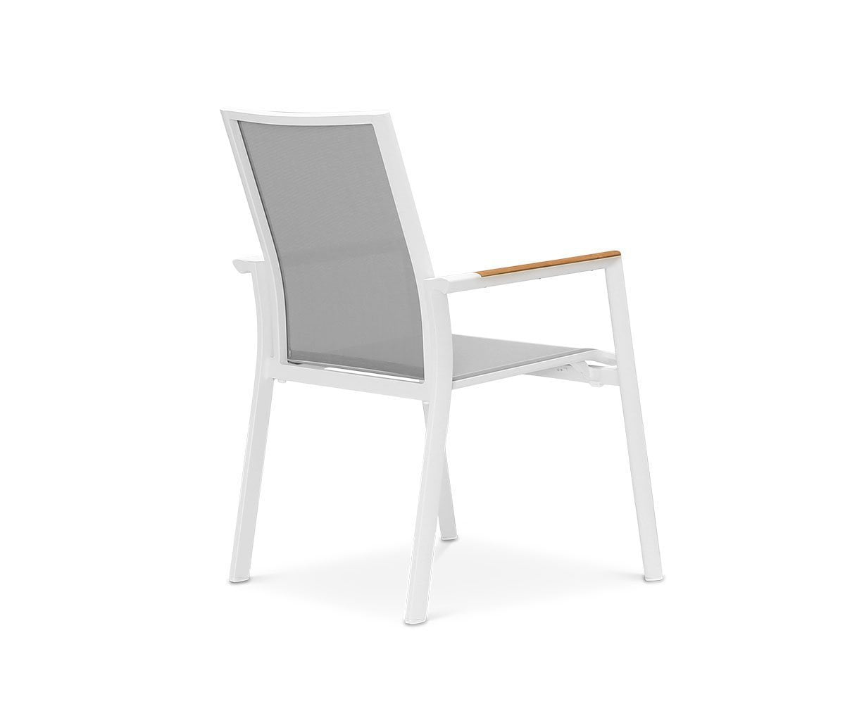 Flisa Dining Chair Powder Coat White/Teak - Scandinavian Designs