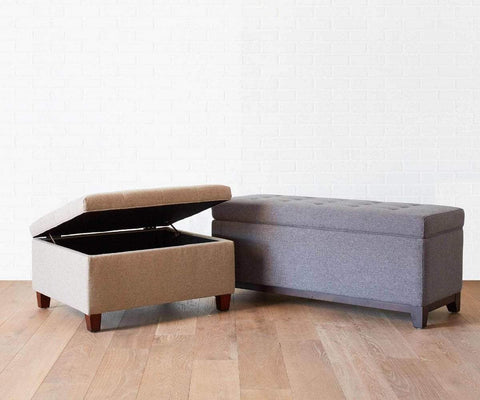 Louise Storage Ottoman Taupe B-657 - Scandinavian Designs
