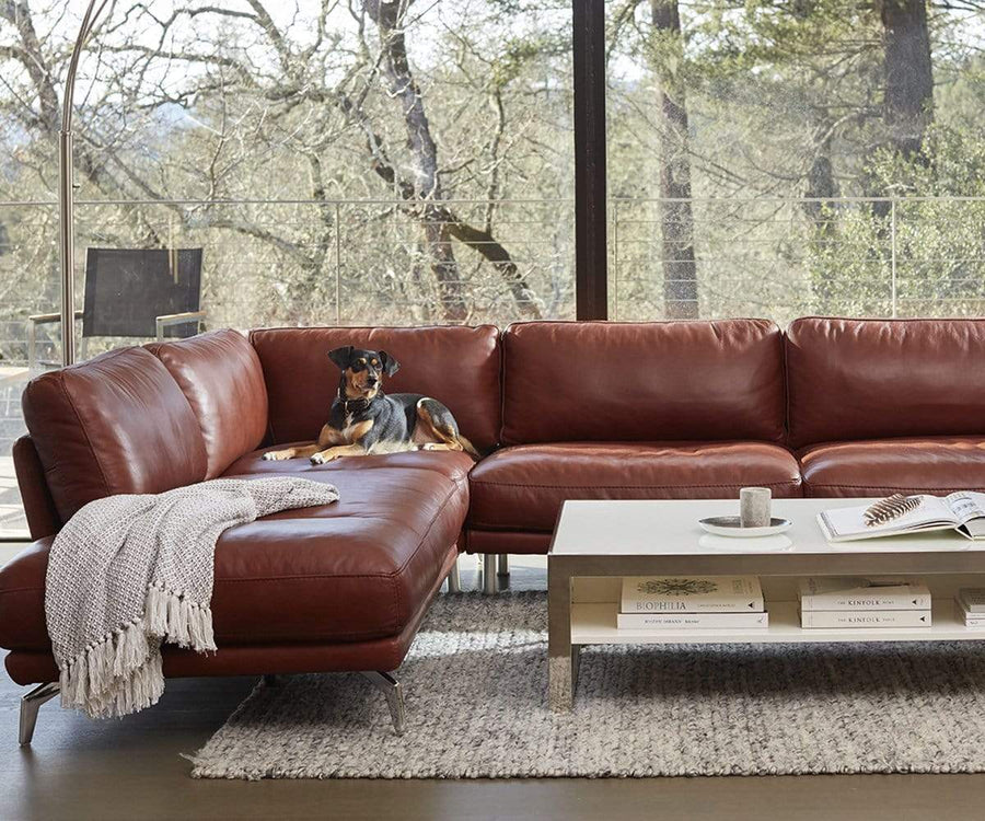 Peruna Leather Left Sectional