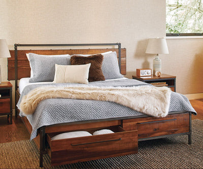 "Insigna Storage Bed ANTIQUE NATURAL / QUEEN (73.25"" W x 81.25"" D x 41.85"" H) - Scandinavian Designs"
