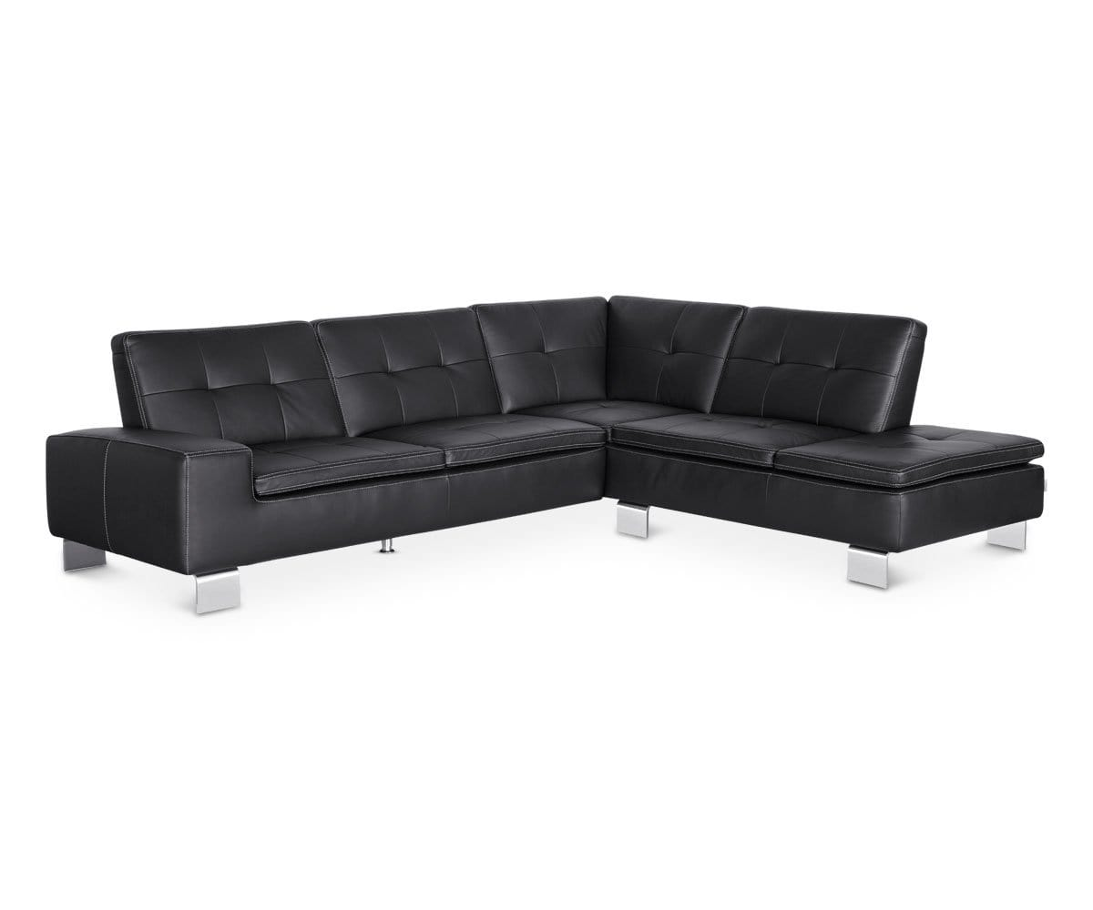Francesca Leather Right Sectional - Black BLACK Z76/99 - Scandinavian Designs