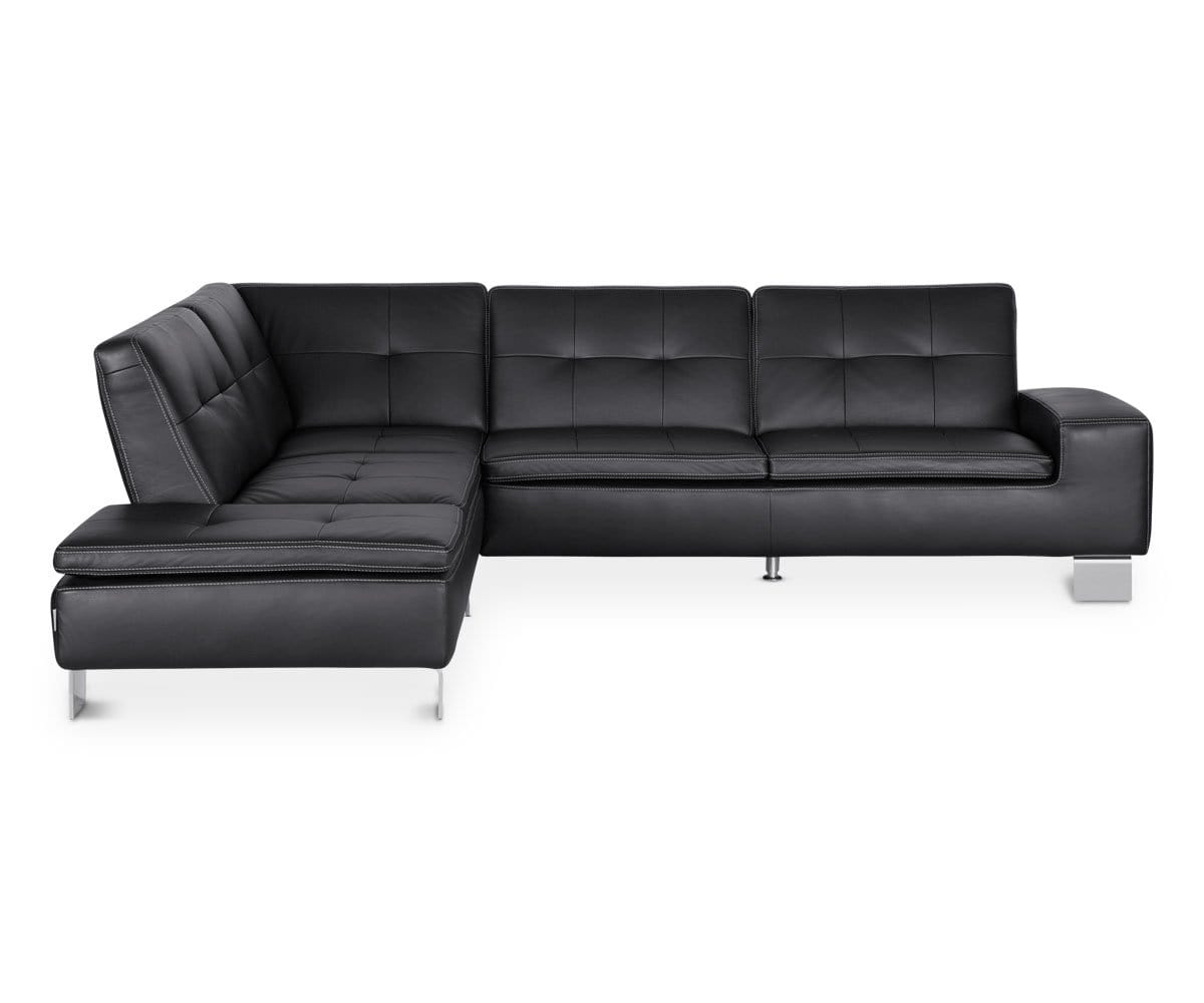 Tremendous Francesca Leather Left Sectional Black Gmtry Best Dining Table And Chair Ideas Images Gmtryco