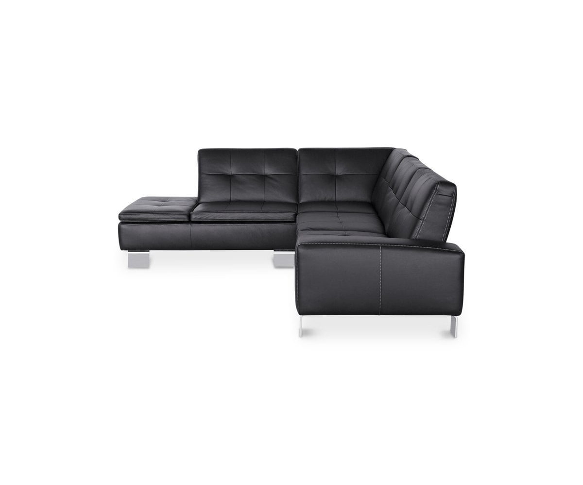 Amazing Francesca Leather Left Sectional Black Gmtry Best Dining Table And Chair Ideas Images Gmtryco