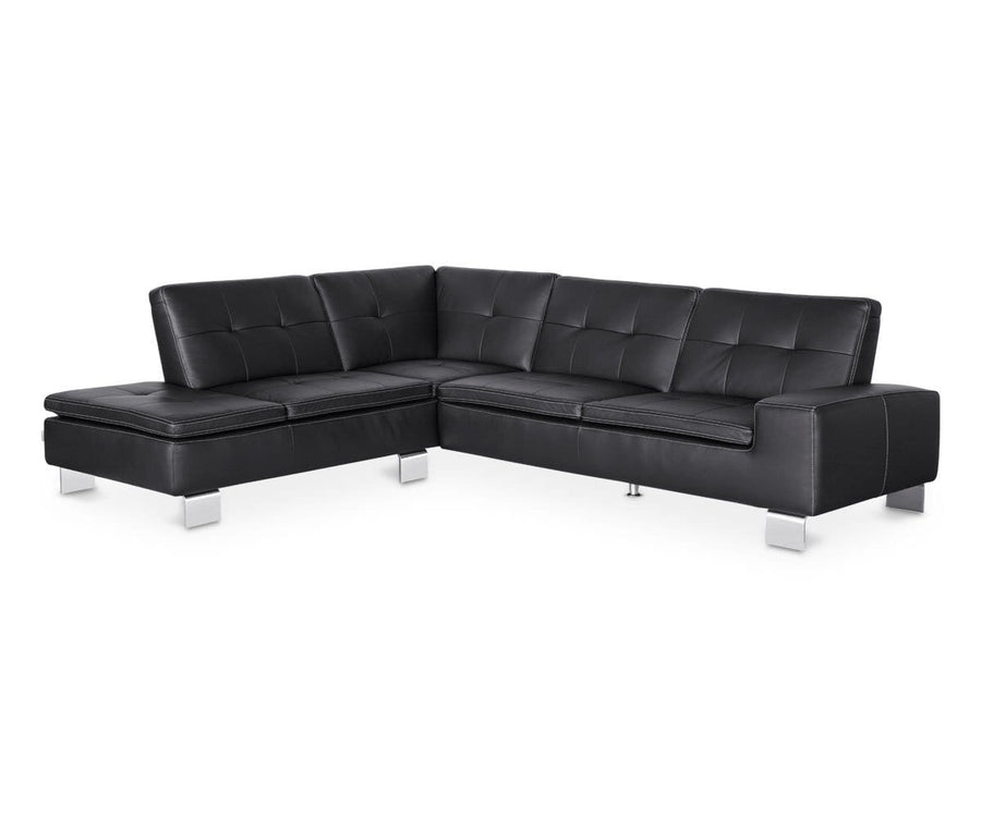 Francesca Leather Left Sectional - Black