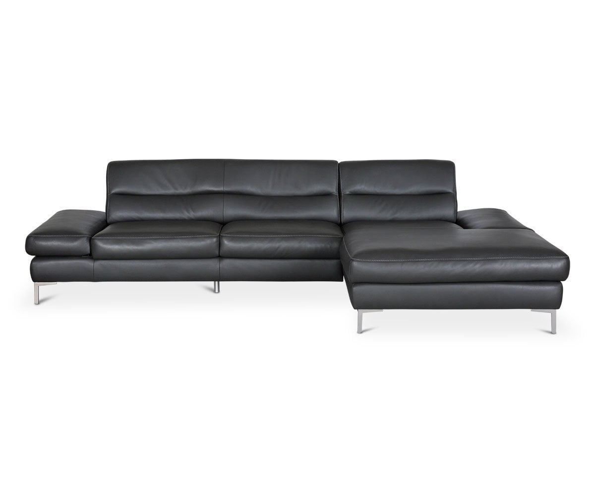 Campsis Leather Right Chaise Sectional - Anthracite - Scandinavian Designs