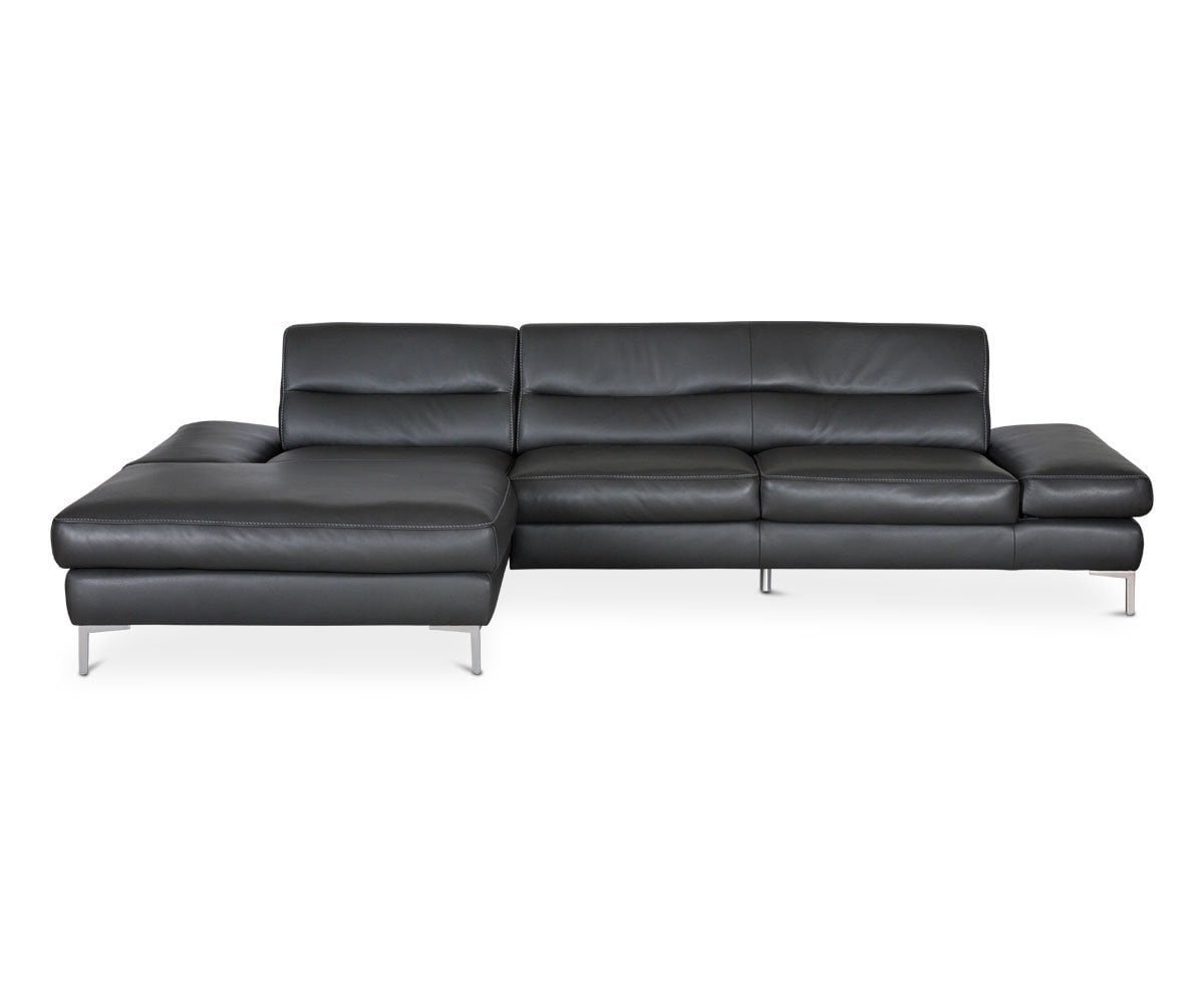 Campsis Leather Left Chaise Sectional - Anthracite - Scandinavian Designs