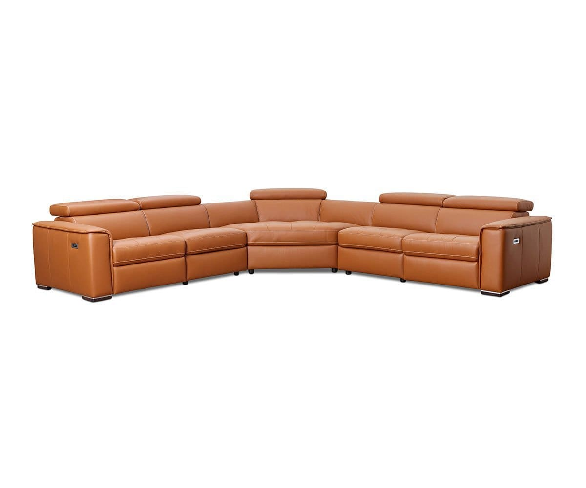 Groovy Kopervik Leather Power Reclining Sectional Bralicious Painted Fabric Chair Ideas Braliciousco