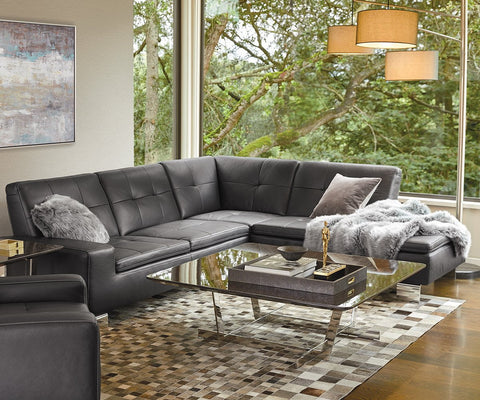 Francesca Leather Right Sectional - Scandinavian Designs