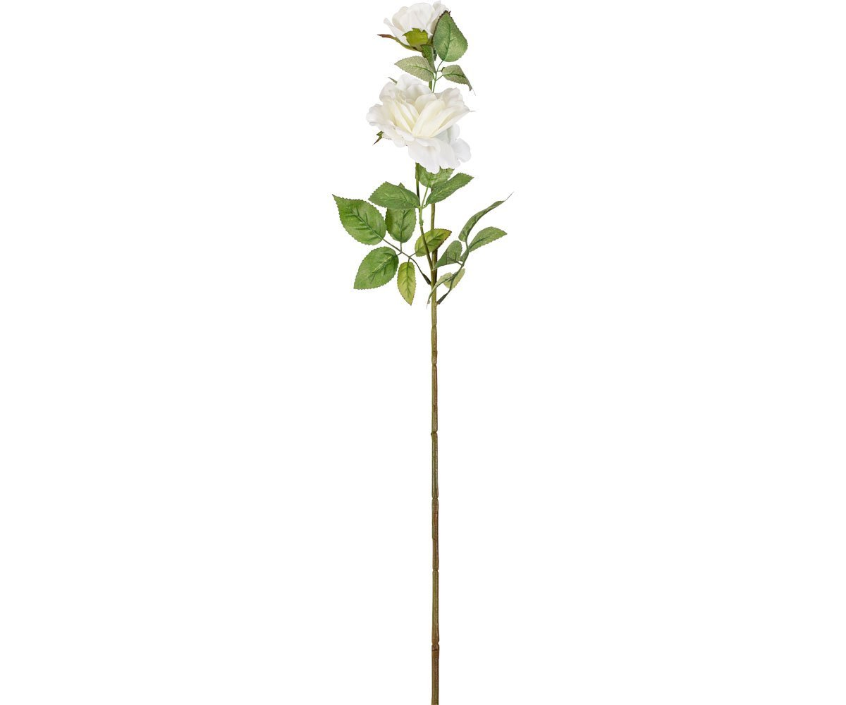 White Faux Rose Stem - Double