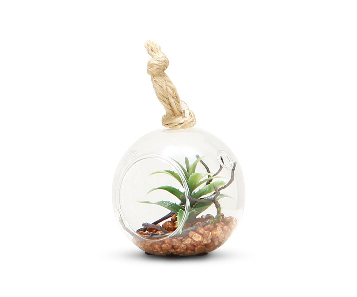 Faux Succulent Arrangement in Hanging Glass Globe II