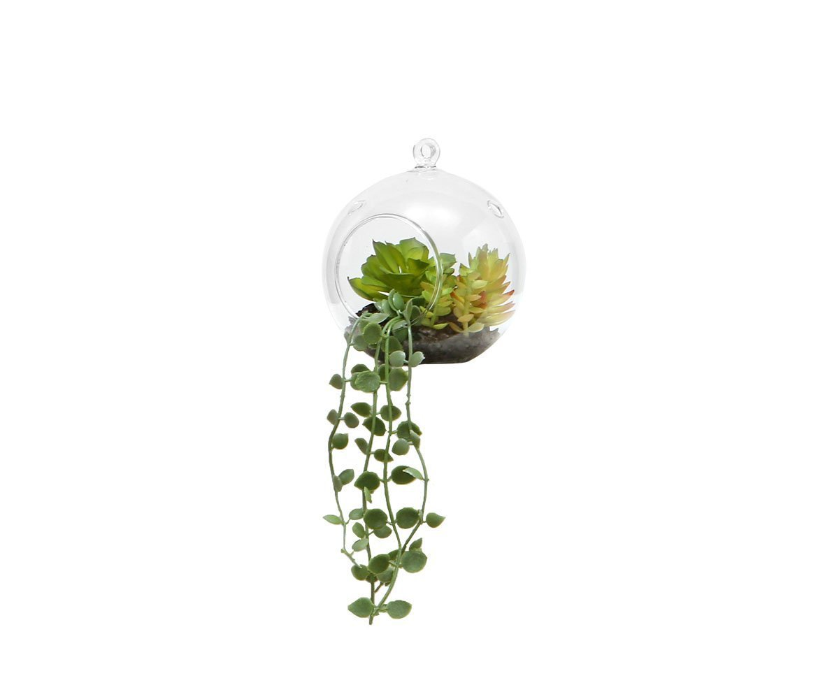 Cascading Faux Succulent in Hanging Glass Globe