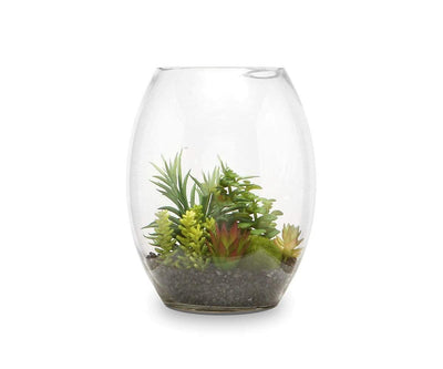 Faux Succulent Variety in Glass Bowl Terrarium - Scandinavian Designs