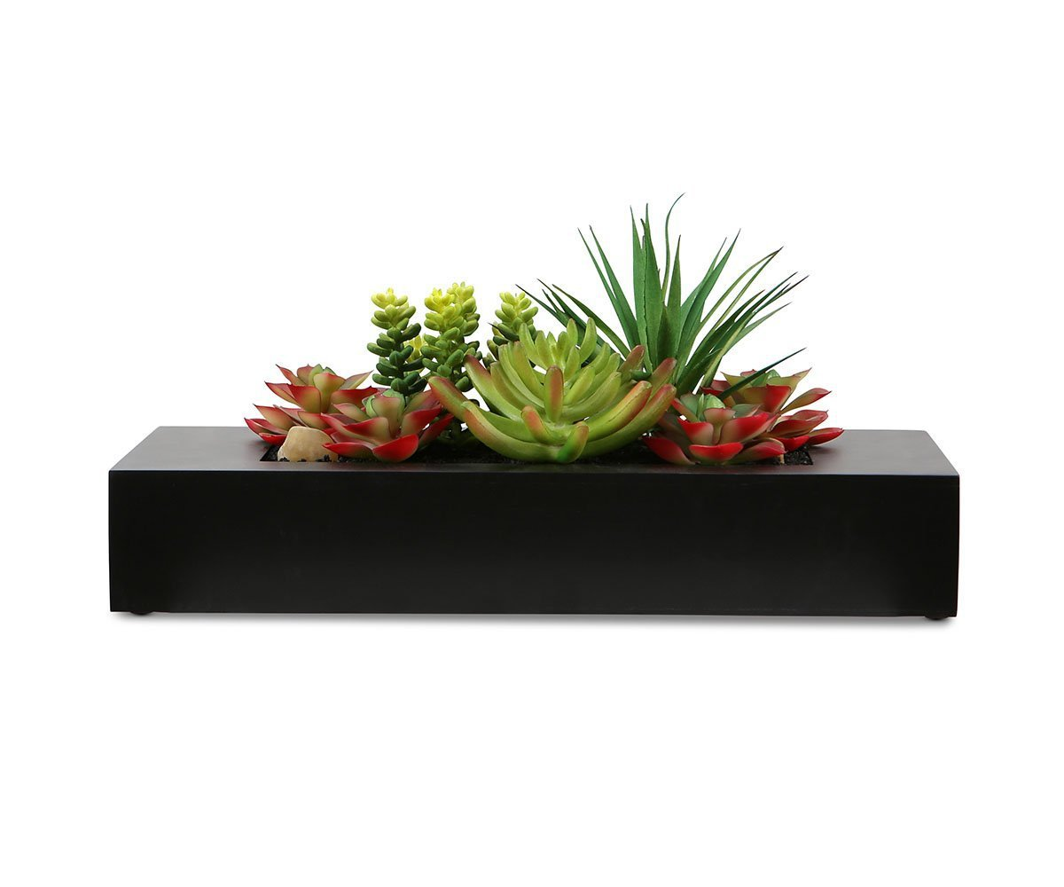Faux Succulent Variety in Large Rectangular Planter