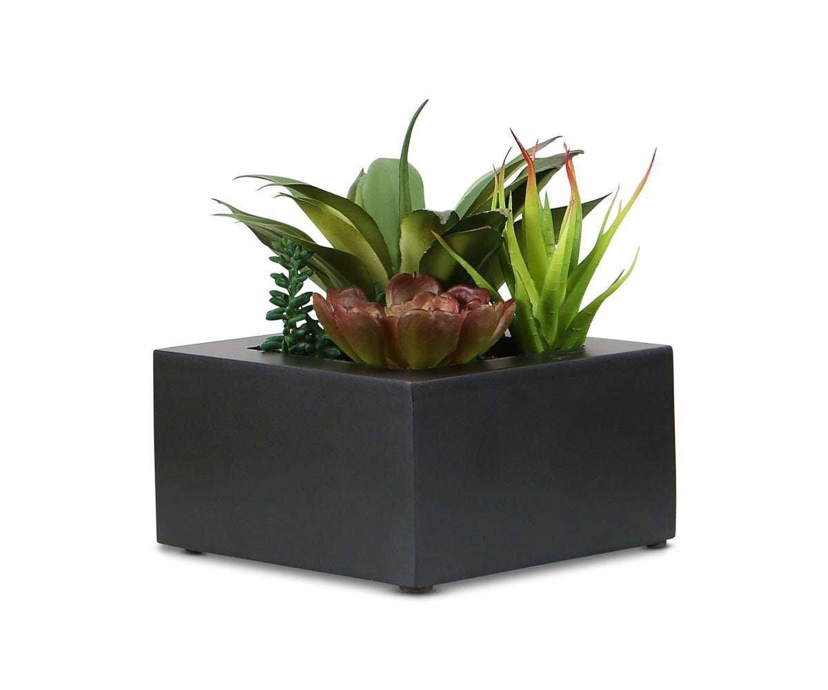 Green Faux Succulents in Square Planter Box