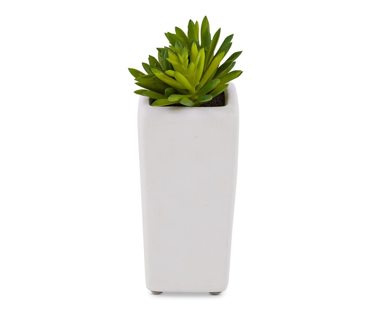 Tall Potted Green Faux Succulent