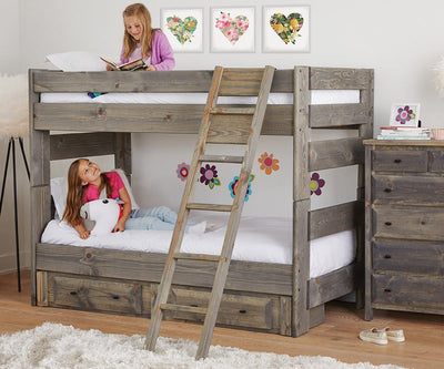 Brennan Twin-Over-Twin Bunk Bed Grey Driftwood / Twin/Twin - Scandinavian Designs