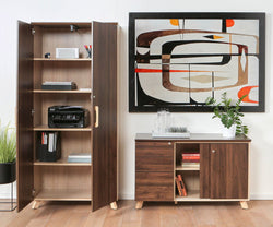 Thorsten Bookcase with Doors Thorsten Walnut - Scandinavian Designs