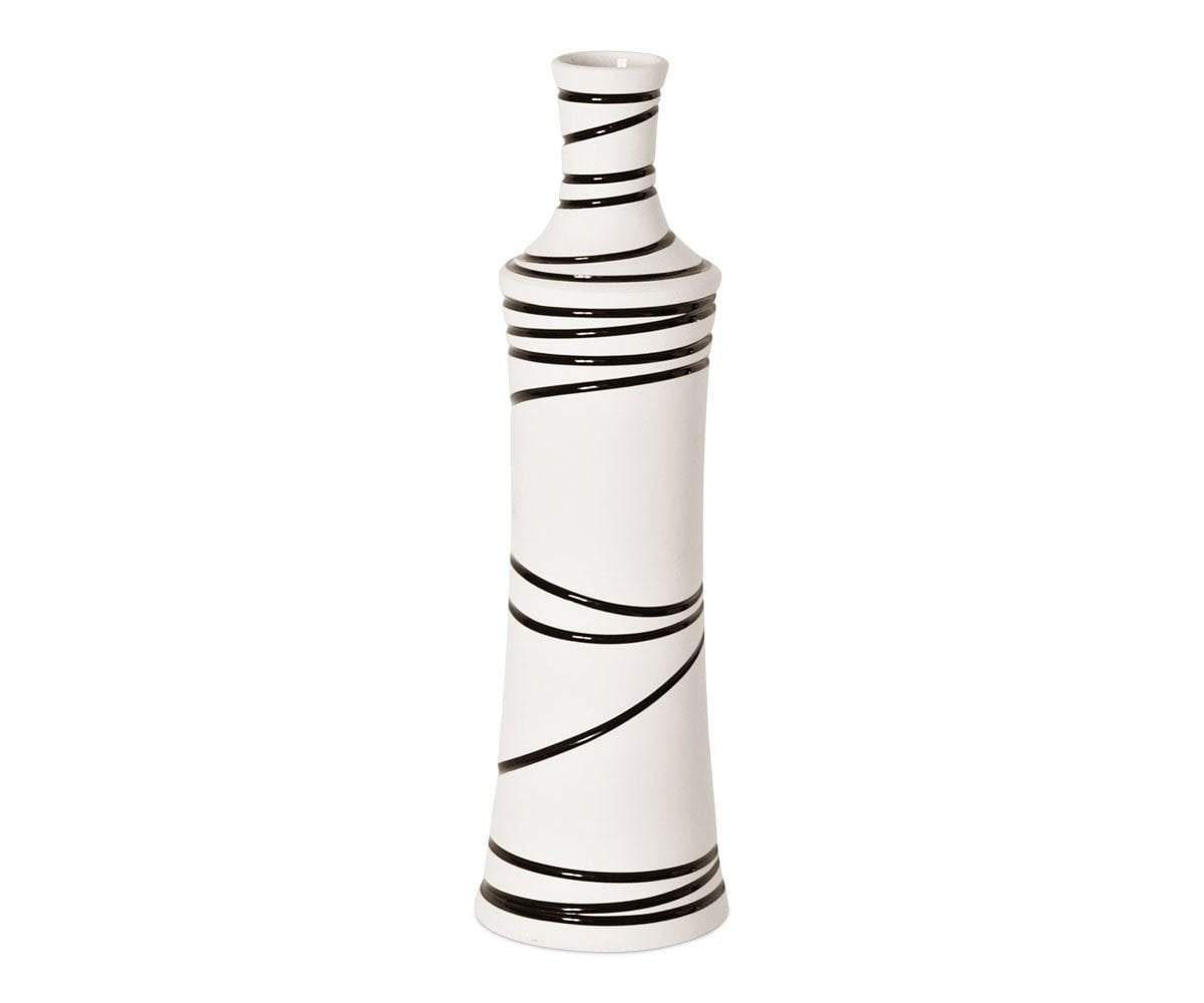 Makino Hand Painted Ceramic Vase WHITE - Scandinavian Designs