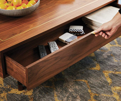 Kallan Lift Top Storage Coffee Table Walnut - Scandinavian Designs