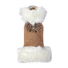 White Fox Fur Coat with Chocolate Glen Houndstooth Nouveau Bow