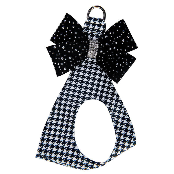 Black & White Houndstooth Silver Stardust Nouveu Bow Step in Harness