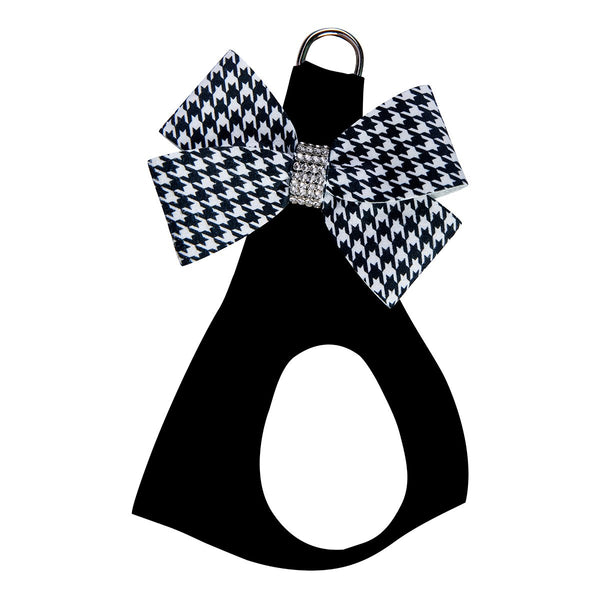 Black & White Houndstooth Nouveau Bow Step In Harness