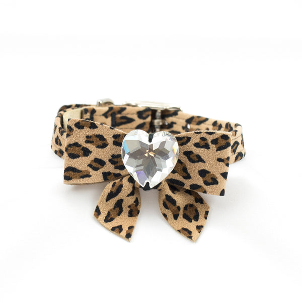 Cheetah Couture Tail Bow Heart Collar