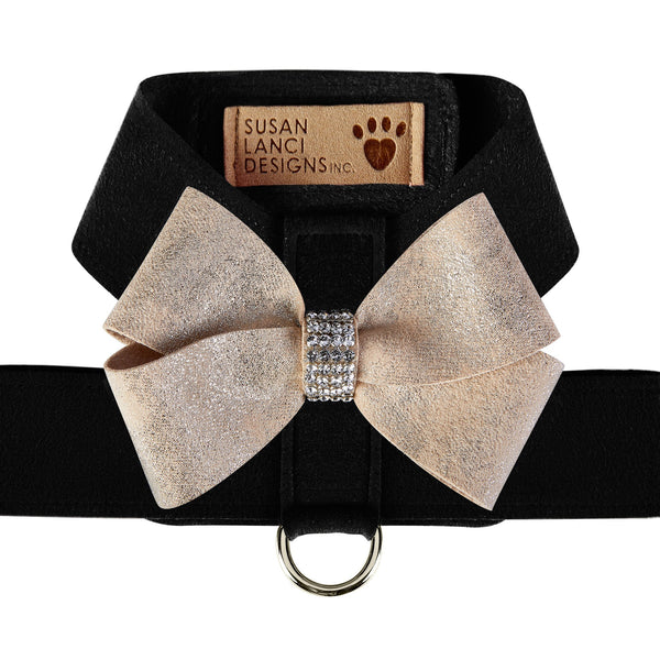 Black Tinkie Harness with Champagne Glitzerati Nouveau Bow