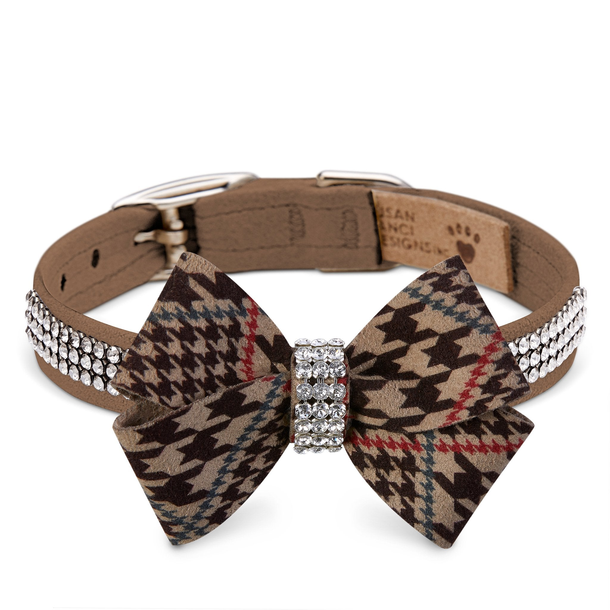 Glen Houndstooth Nouveau Bow 3 Row Giltmore Collar