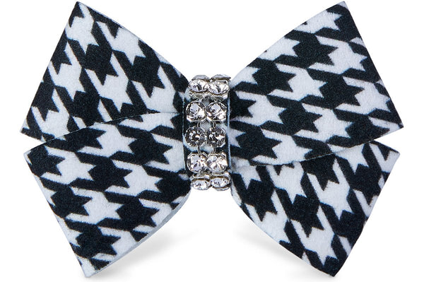 Black & White Houndstooth Nouveau Bow Hair Bow