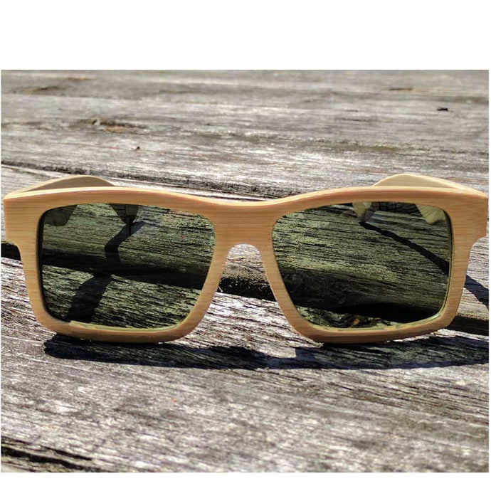 Sunfly natural beech wood sunglasses outside on wood