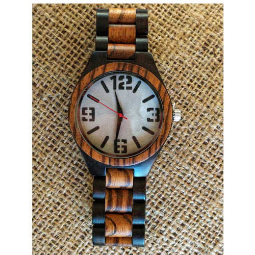 SunFly Dark Ebony and Zebra Wood Full Wood Watch