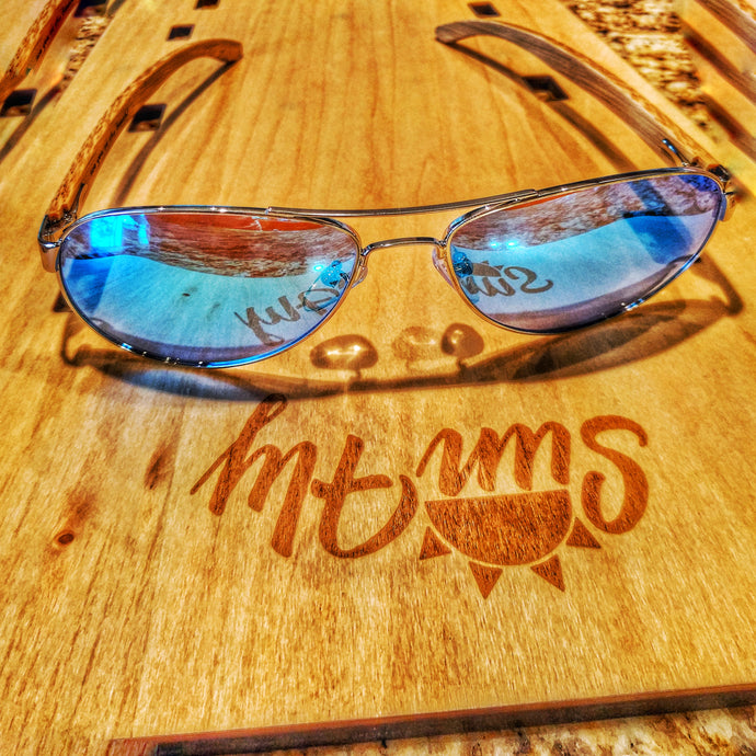 SunFly Aviators with Natural Bamboo Arms and Blue Mirror Polarized Lens