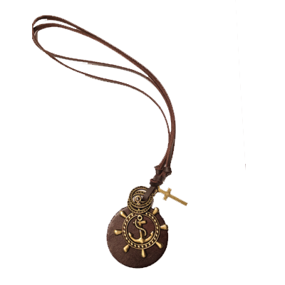 Anchor, Wheel and Cross Leather Necklace