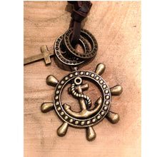 Anchor & Wheel Leather Necklace