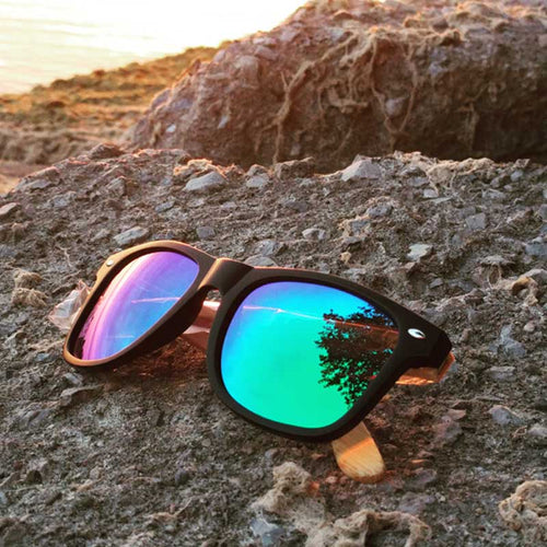 SunFly Black Frame, Natural Bamboo & Green Mirror Polarized Lens
