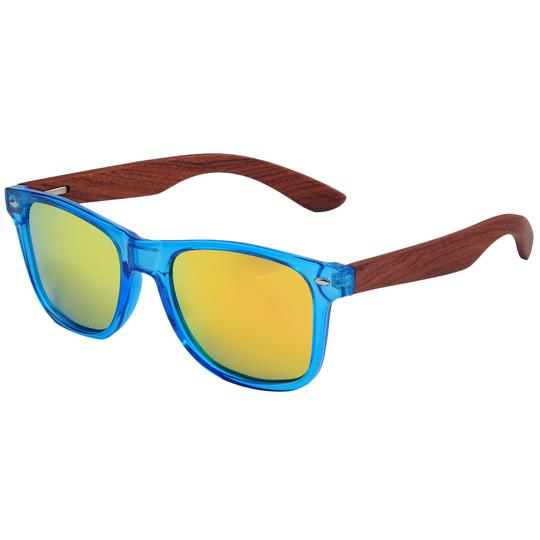 Blue Frame Wayfarers with Rosewood  Arms & Gold Mirror Polarized Lens