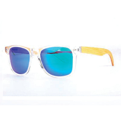 Clear Frame Sunglasses with Bamboo Arms & Blue Mirror Polarized Lens