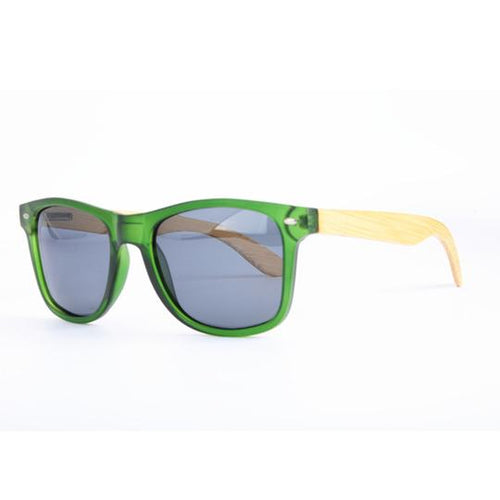 Green Frame Sunglasses with Natural Bamboo & Grey Polarized Lens