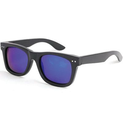 SunFly Full Black Bamboo Wayfarer Sunglasses with Blue Mirror Polarized Lens