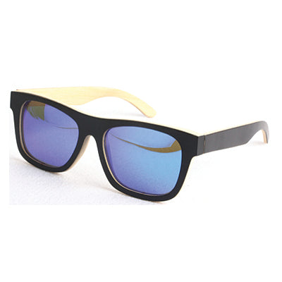 SunFly Black & Natural grain Bamboo Wayfarers with Blue Mirror Lens