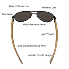 SunFly Black Aviators with Bamboo Arms and Dark Grey Polarized Lens