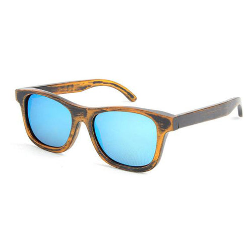 SunFly Distressed Brown Bamboo Sunglasses with Green Mirror Lens
