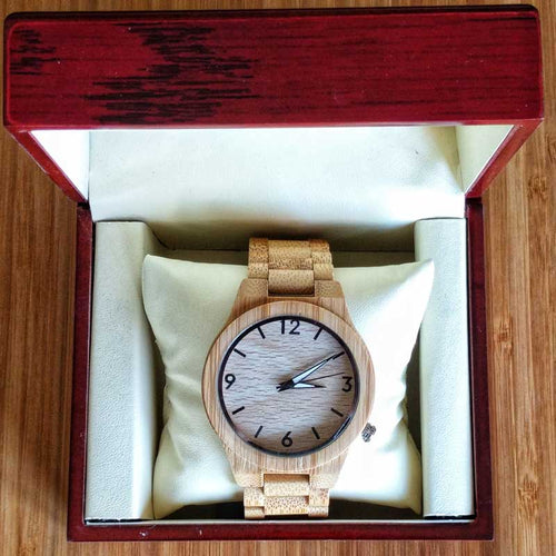 SunFly Natural Grain Full Bamboo Timepiece