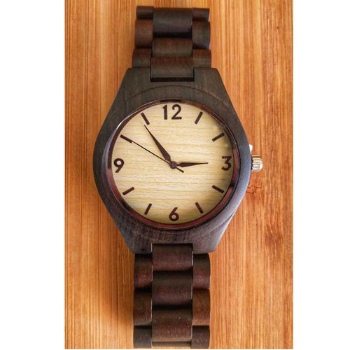 SunFly Full Ebony Wood Timepiece with light yellow face