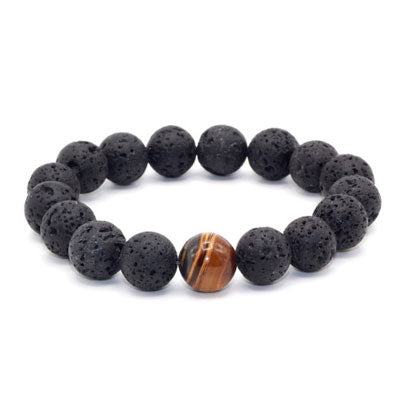 Lava Rock & Tiger's Eye - 12mm