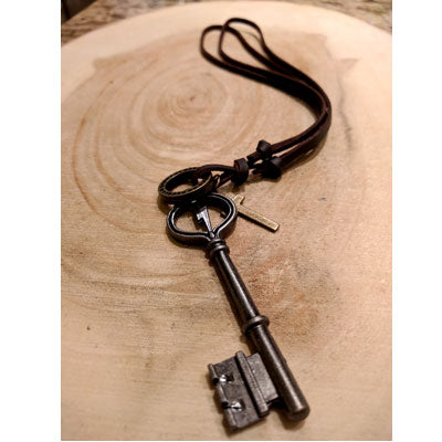 Leather Necklace with 'Key' Pendant
