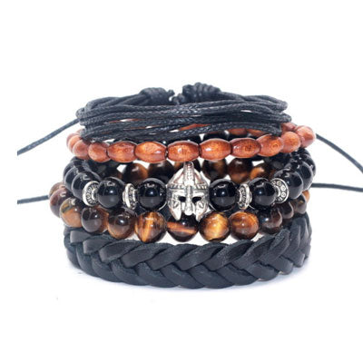 Leather, Tiger-Eye & Onyx Stack Bracelet
